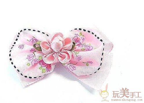 全图解韩式彩带玫瑰头花制作方法