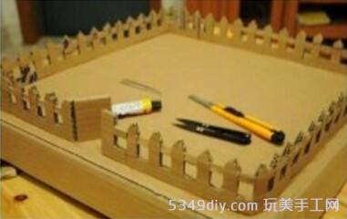 纸盒废纸板做的精致小房子模型