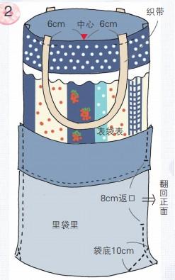 布艺花田条纹手提袋手工制作方法